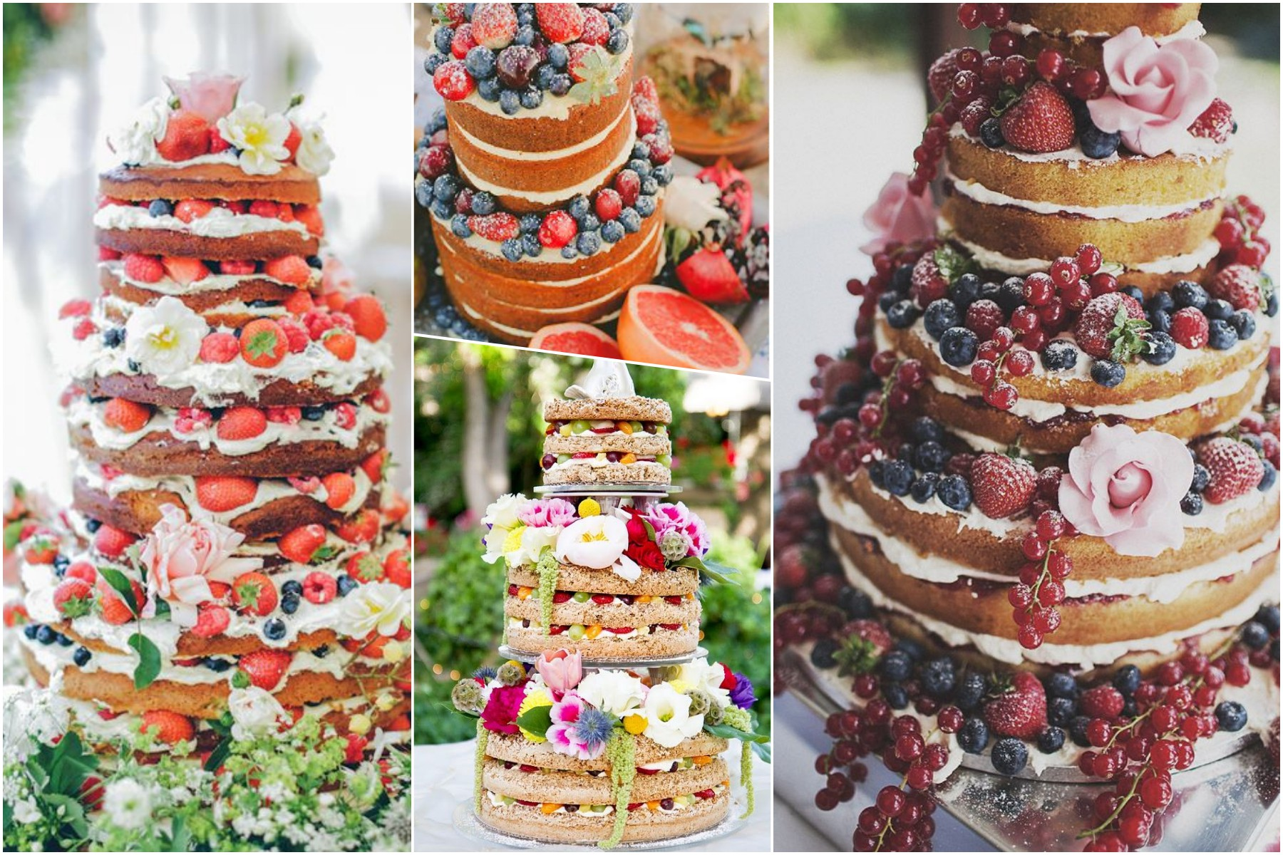 naked cake, fruits